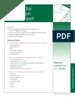 Contractor Evaluation Score Sheet