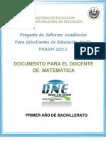 Actividades de Refuerzo  - Matemática - Segunda Prueba de Avance - Primer Año (PRAEM 2011)(1)