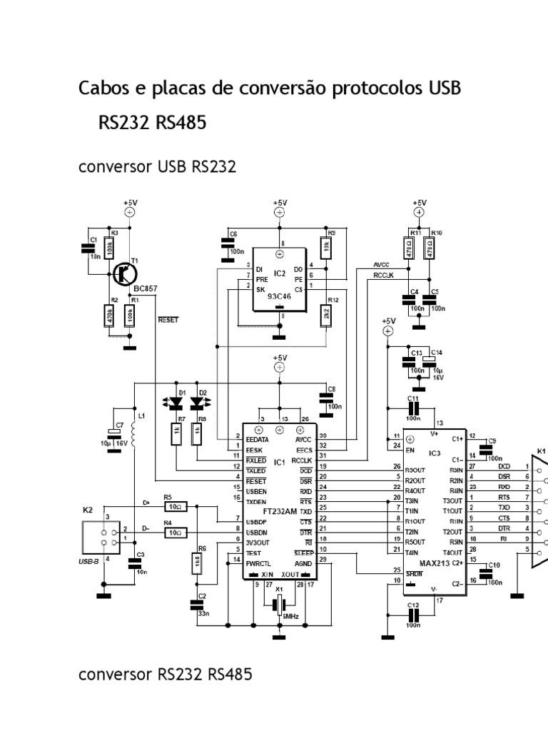 conversão protocolos USB RS232 RS485