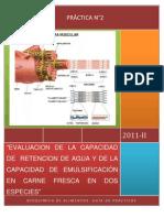 EVALUACION DE LA CAPACIDAD DE  RETENCION DE AGUA Y DE LA CAPACIDAD DE EMULSIFICACIÓN EN CARNE FRESCA EN DOS ESPECIES