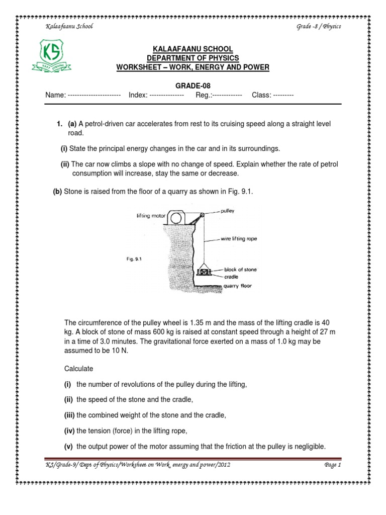 Work, Energy and Power Worksheet | Potential Energy | Mass
