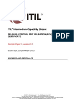 ITIL Intermediate Capability RCVSample1 Answers and Rationales v5.1