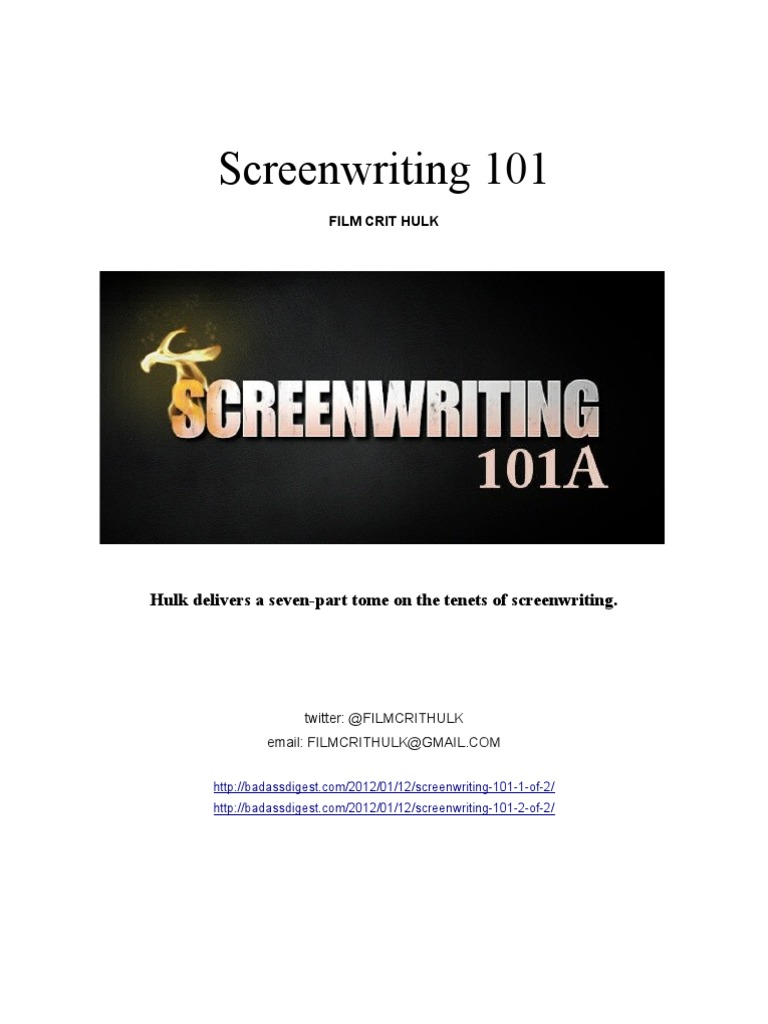 Filmcrithulk screenwriting 101 malvernweather Gallery