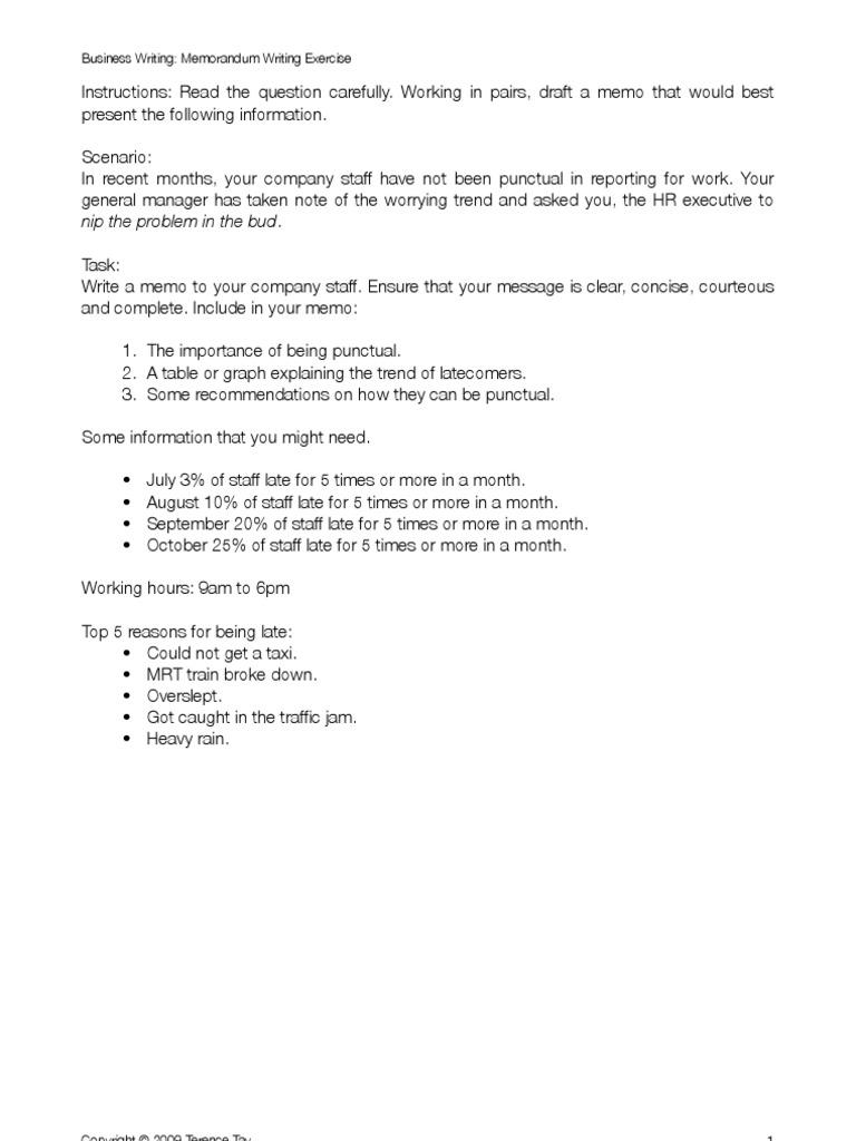 memo sample answers