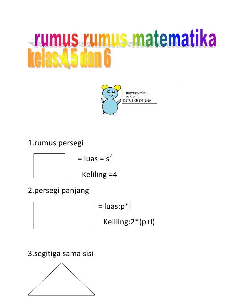 Rumus Matematika Kelas 3 Sd Ilmusosial Id