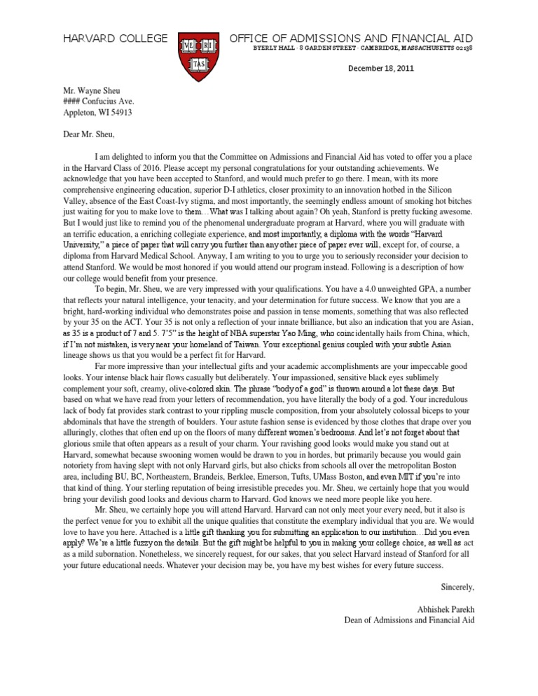 harvard rejection letter harvard acceptance letter harvard academia 1277