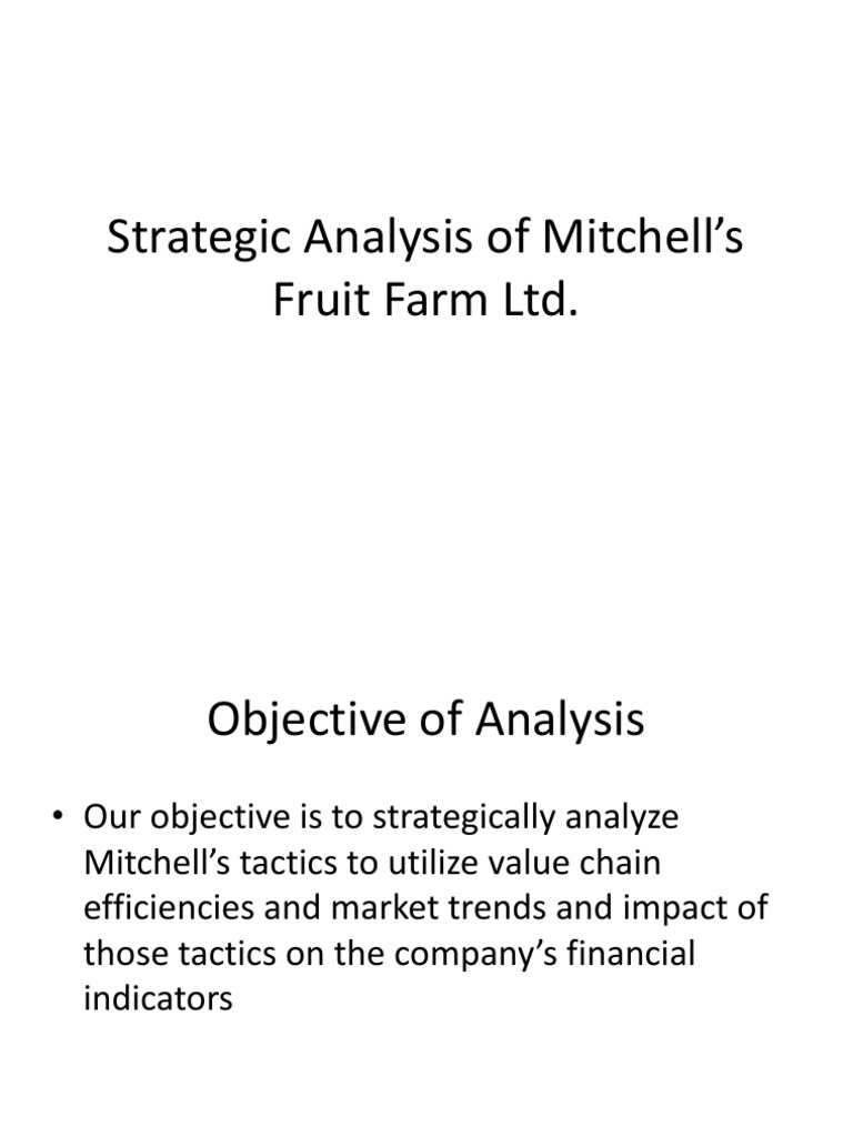 strategic analysis of mitchell s fruit farm