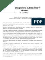Appel aux gouvernements d'un groupe d'experts économiques français et allemands réunis à Düsseldorf