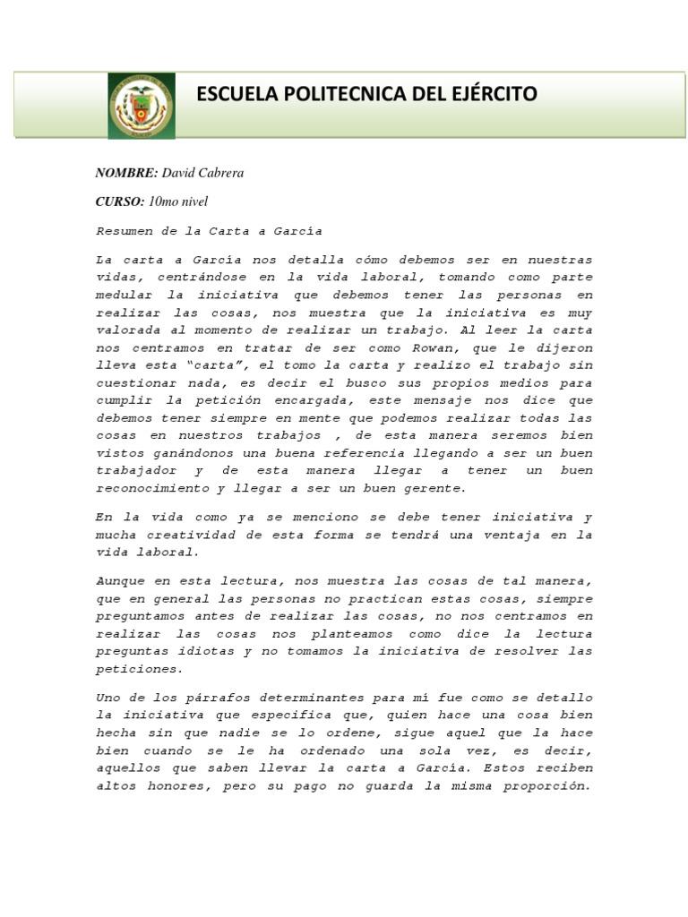 Resumen Carta a Garcia
