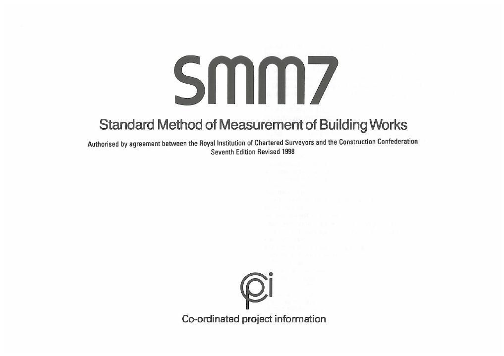 SMM7 Standard Method of Measurement of Building Works 7th