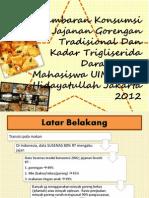 Gambaran Konsumsi Jajanan Gorengan Tradisional Dan Kadar Trigliserida Darah Pada Mahasiswa UIN Syarif Hidayatullah Jakarta 2012