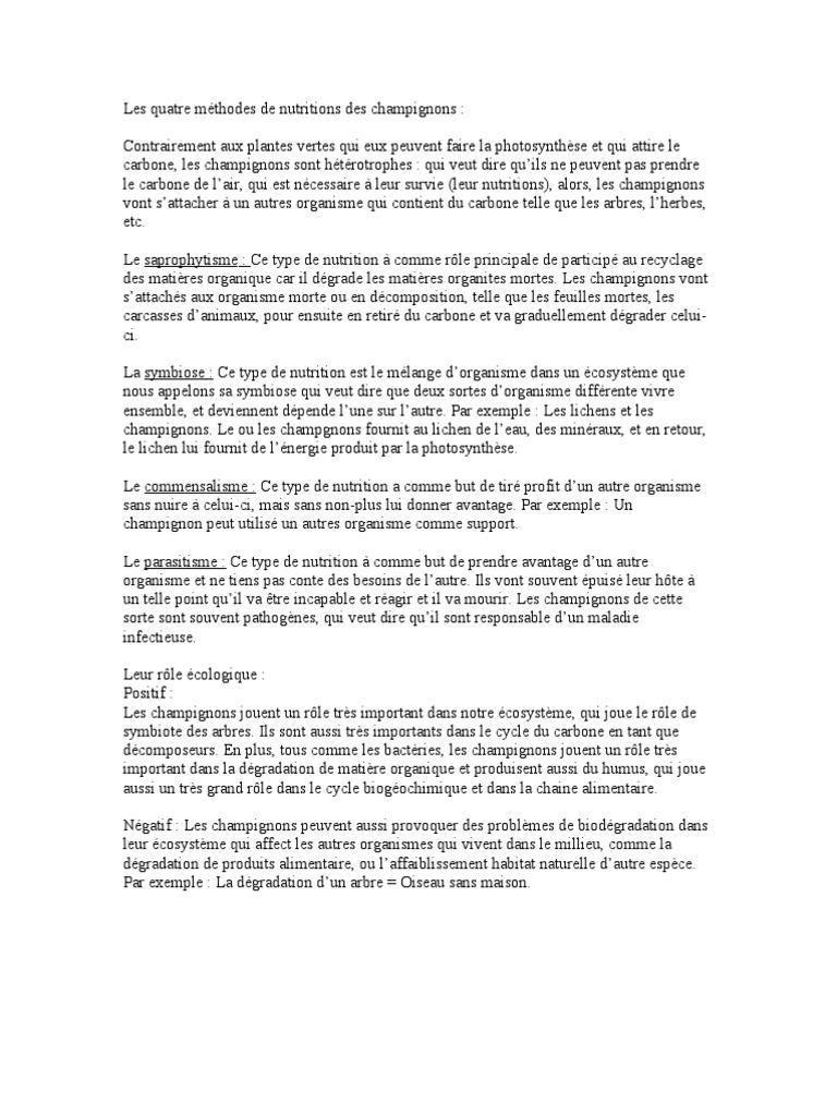 Les Champignons (Devoir de Sciences) (1)   Champignons   Nutrition