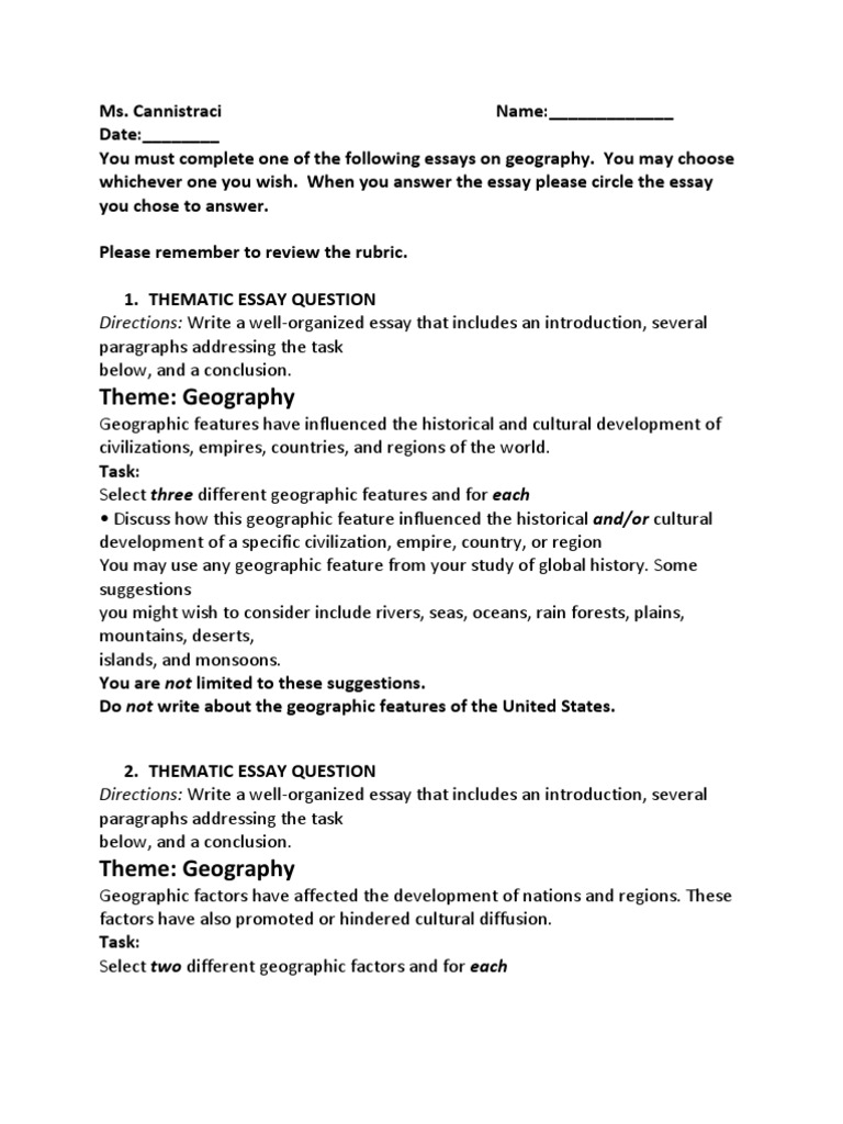 Thematic essay geography