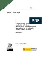 Inventario de la información estadística, indicadores y explotación de fuentes sobre etnia, raza y género en los países de América Latina y el Caribe