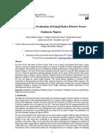Reliability Evaluation of Kainji Hydro-Electric Power Station in Nigeria