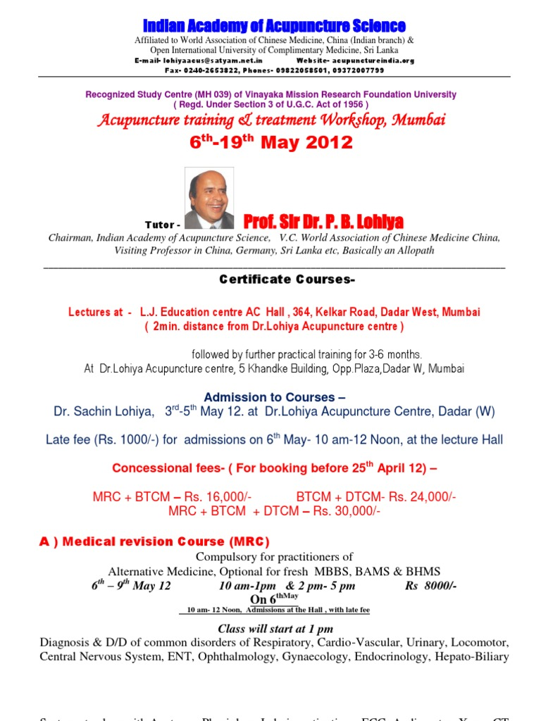 Training Course Mumbai May 2012 | Traditional Chinese Medicine