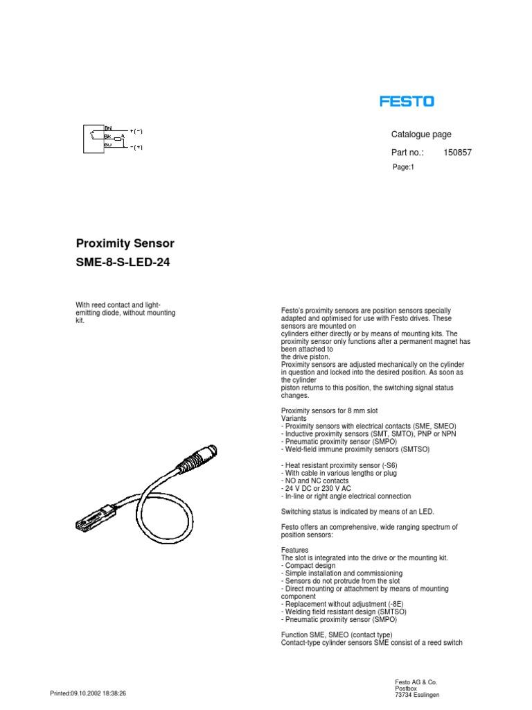 Festo Proximity Sensor Wiring Diagram Circuit Connection Npn Switch 150857 Sme 8 Rh Pt Scribd Com 3 Wire