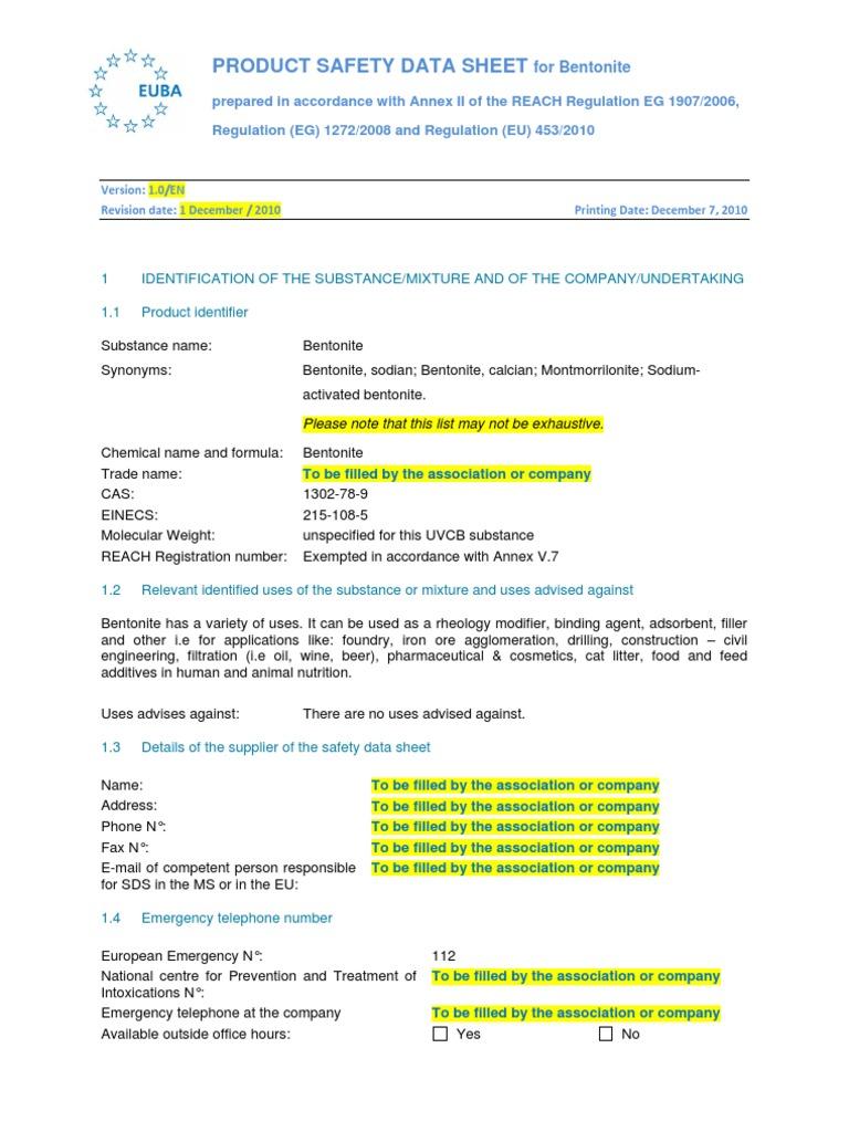 SDS_Bentonite_EN__EUBA_07-12-2010_ | Toxicity | Personal