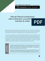 Articulo Alusivo a Sentencia Tribunal Constitucional de Chile Sobre Matrimonio Homosexual
