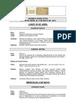 Agenda Legislativa - 30 de abril al 4 de mayo de 2012