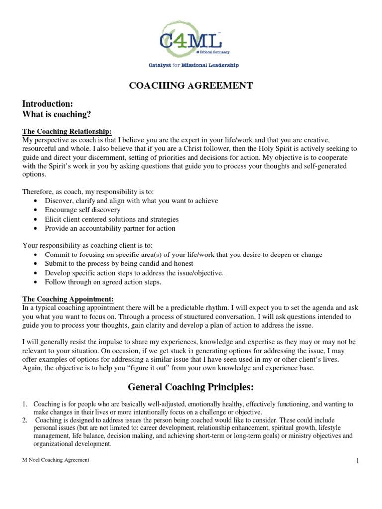 Coaching Agreement Introduction What Is Coaching The Coaching