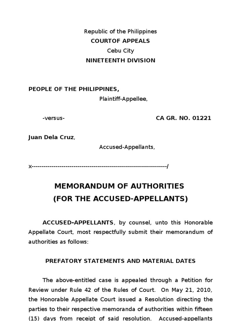 memorandum of authorities lawsuit appeal. Black Bedroom Furniture Sets. Home Design Ideas