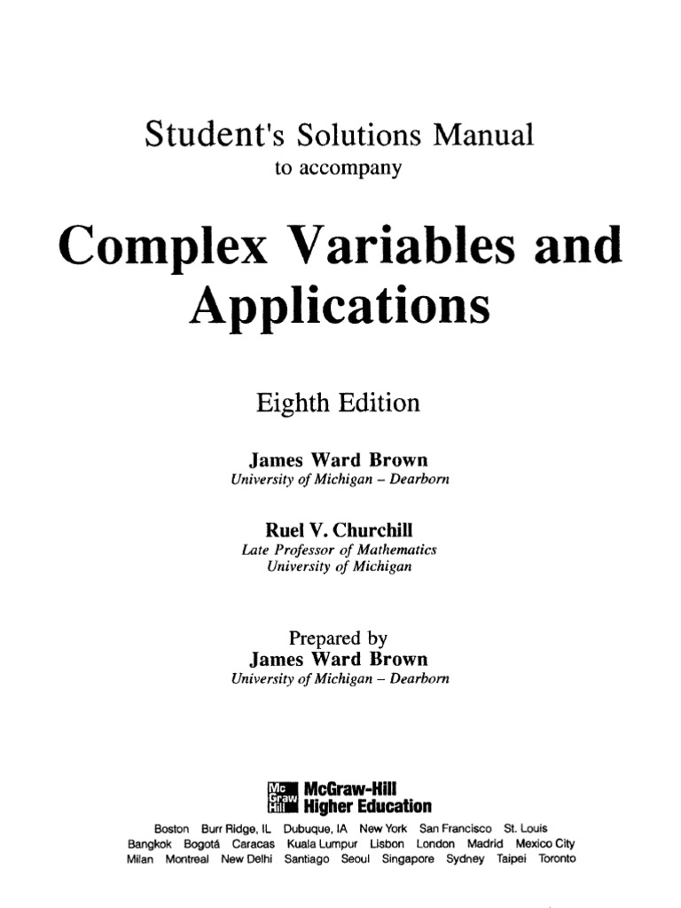complex variables and applications 8th edition solutions manual pdf free