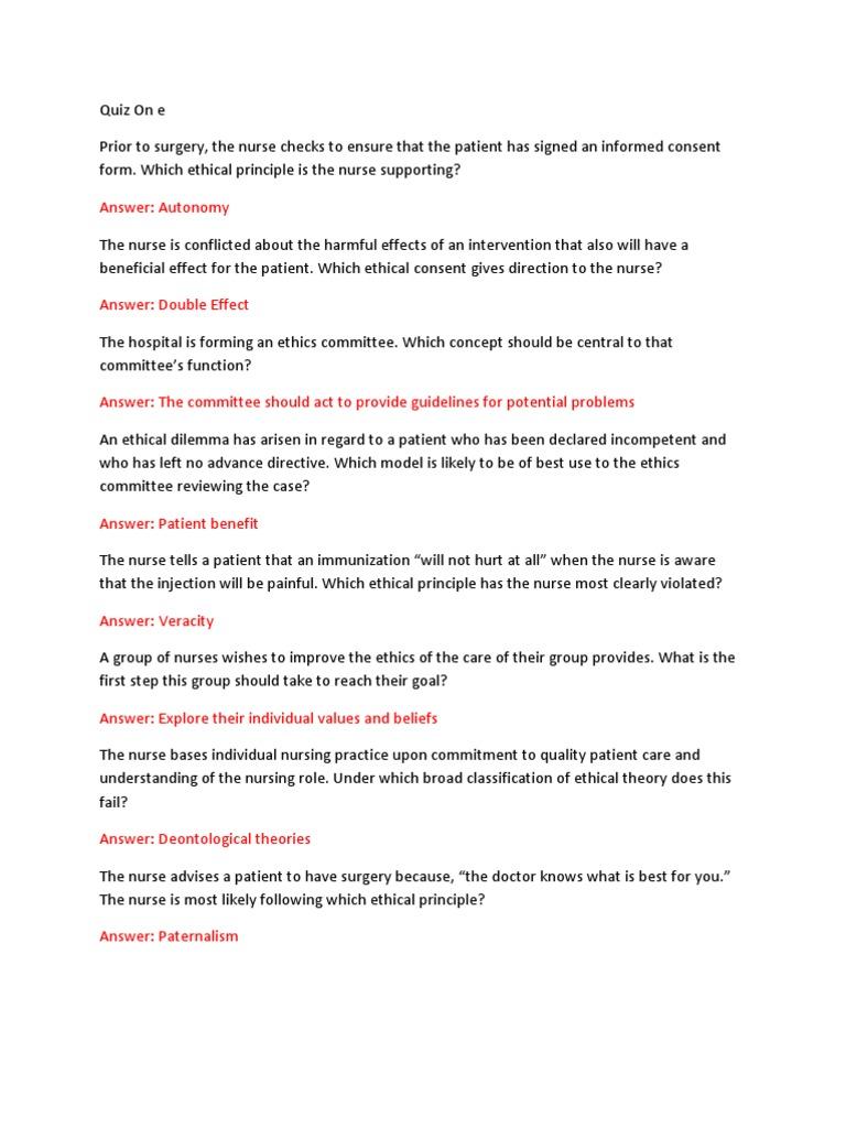 Ethics Exam #1 | Nursing | Nurse Practitioner