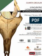 Cuarta Circular del II Encuentro Latinoamericano de Zooarqueología