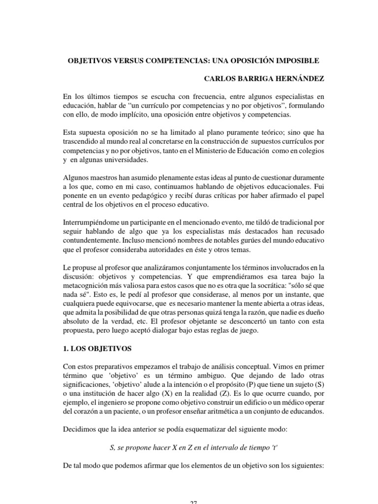 Objetivos Versus Competencias Dr. Barriga Peru