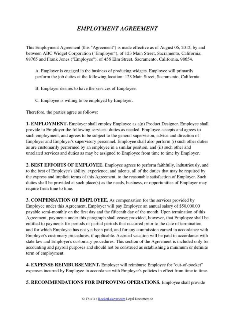 Employment Agreement Employment Politics