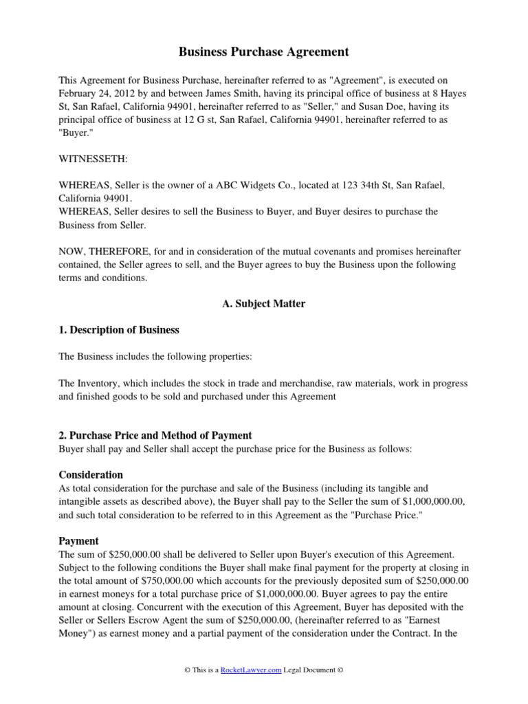 Business Purchase Agreement Indemnity Lease