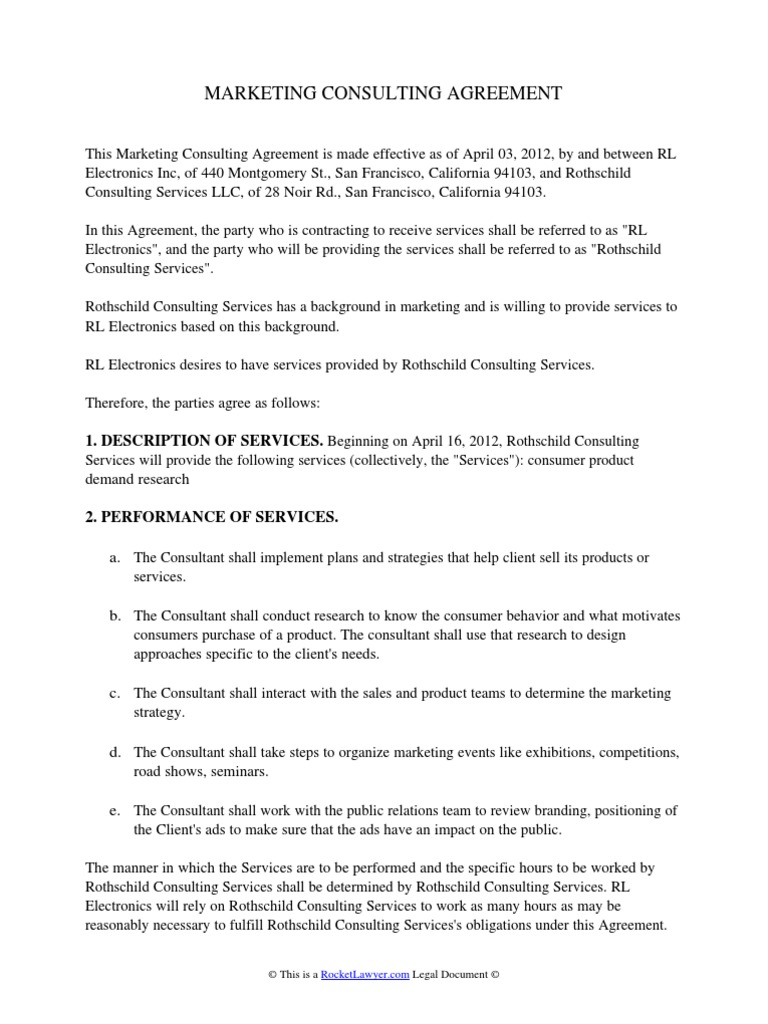 Marketing Consulting Agreement Arbitration Intellectual Property