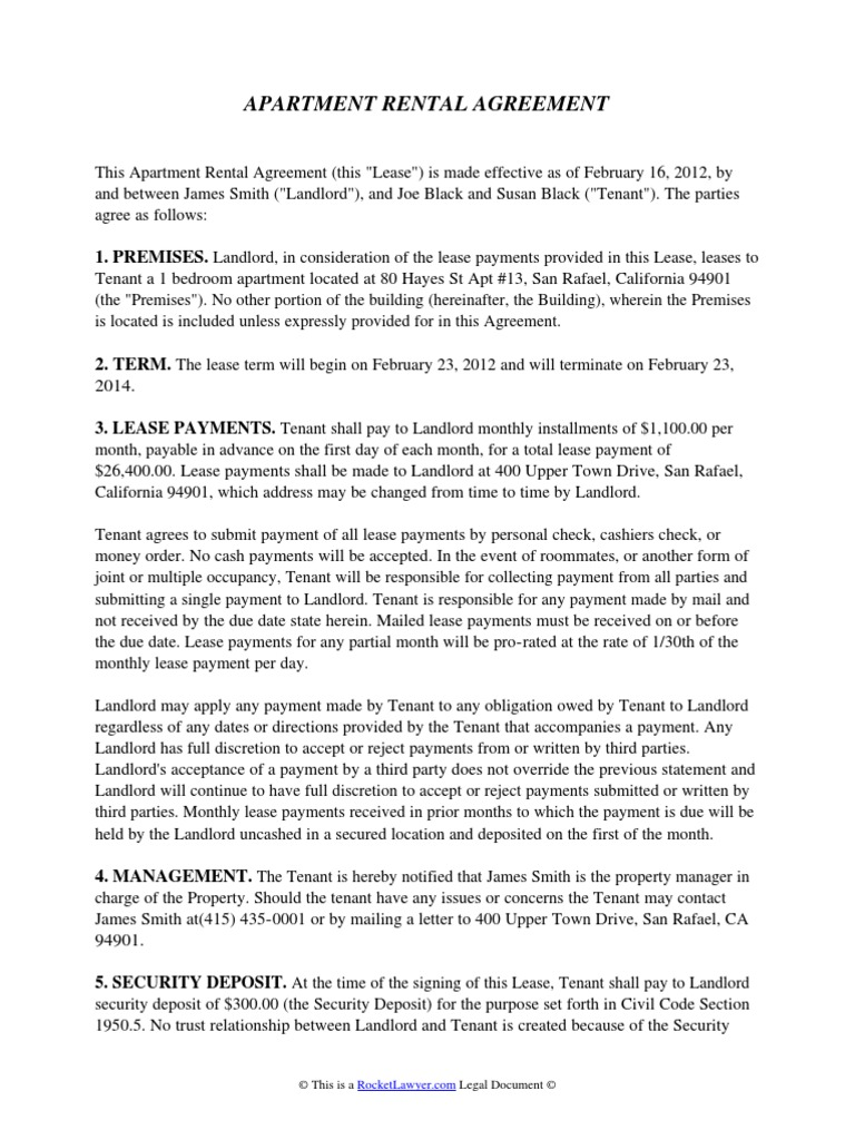 Apartment rental agreement lease leasehold estate falaconquin