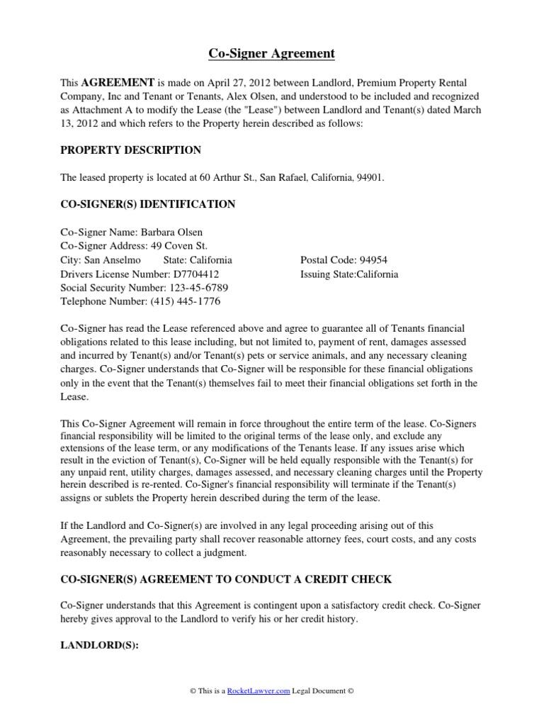 Co Signer Agreement Lease Leasehold Estate