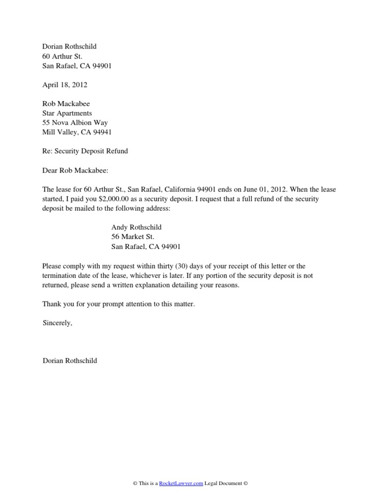 letter of request for refund security deposit refund letter 21563