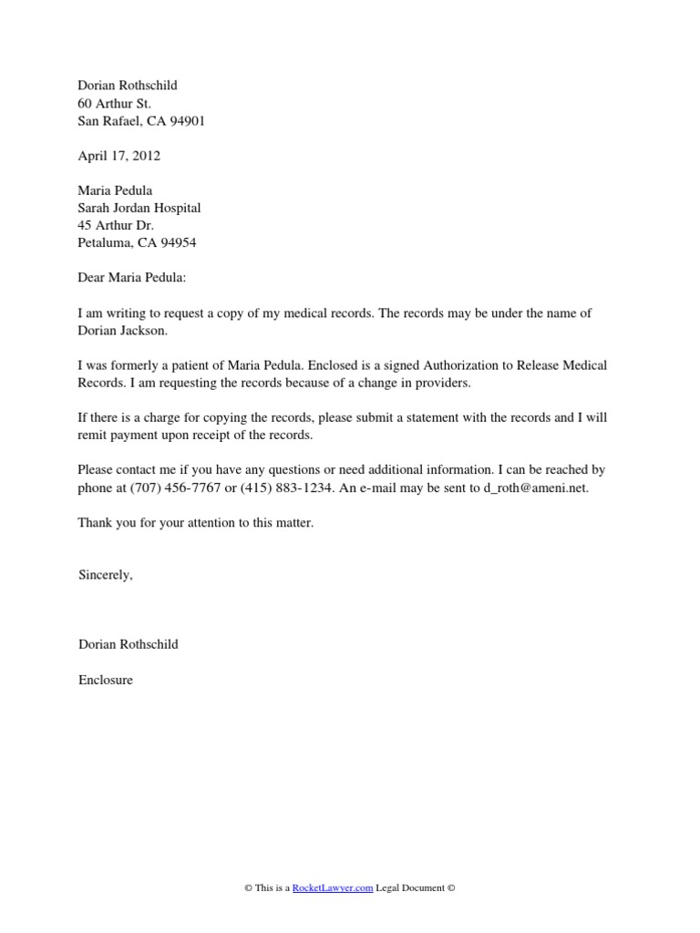 medical records request medical record confidentiality