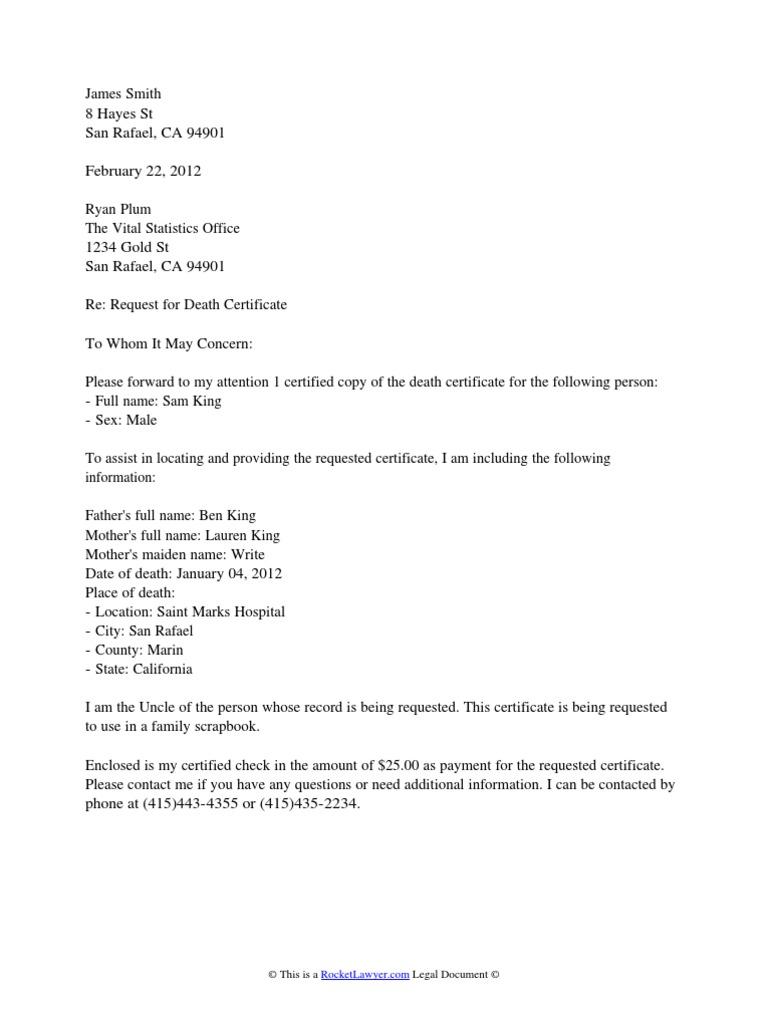 Death certificate request letter 1533597357v1 spiritdancerdesigns Gallery