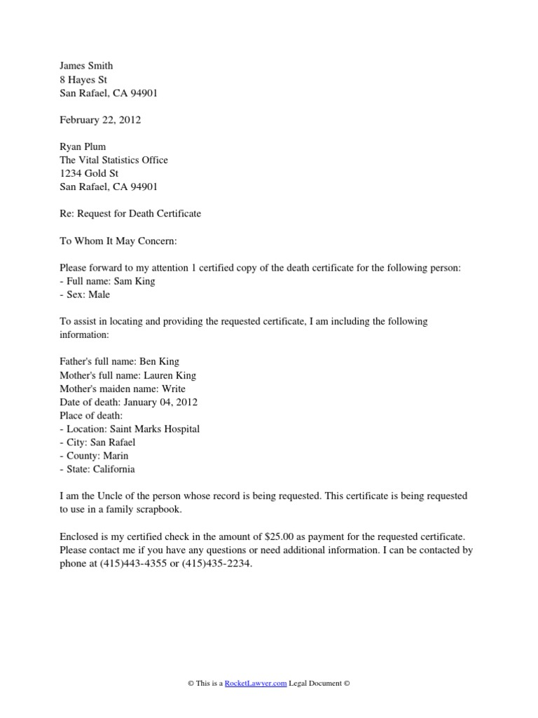 Death Certificate Request Letter  Death Certificate  Social