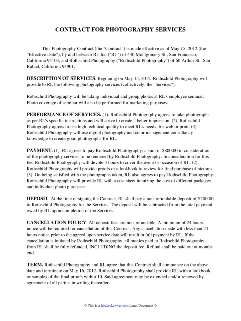 Photography Services Contract Resume Template Ideas