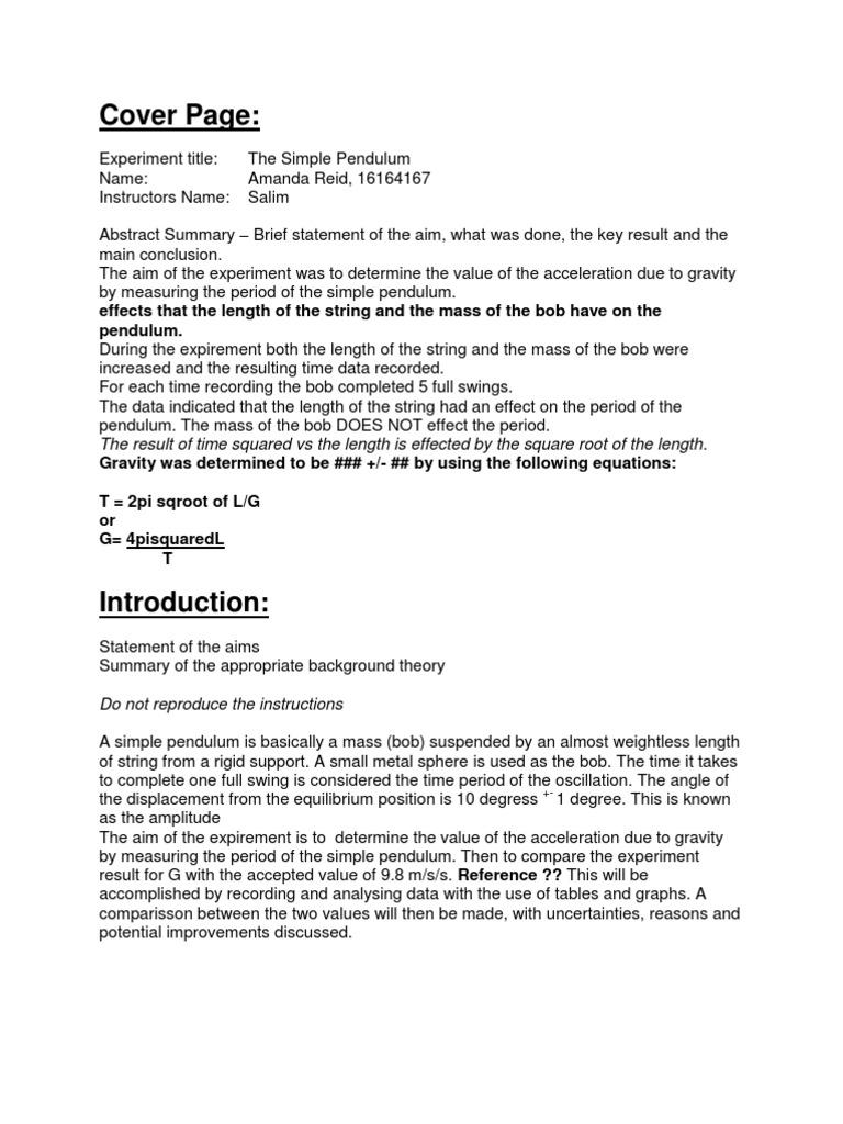 Lab Report 1 the Simple Pendulum   Pendulum   Uncertainty