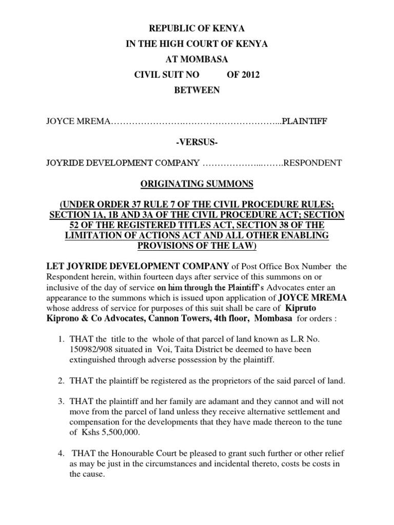 Originating Summons (2)   Summons   Lawsuit