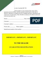 Campey - Timan RC-750 Operators Manual
