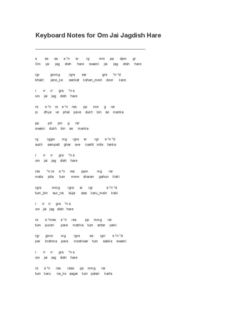 Keyboard Notes for Om Jai Jagdish Hare