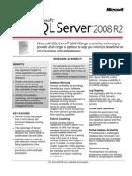 SQL Server 2008 R2 High Availability Data Sheet