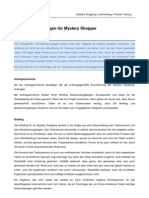 Verhaltens Codex für Mystery Shopper