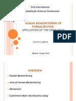 Human Bio Monitoring of Formaldehyde Application of the Cbmn Assay by Carina Ladeira