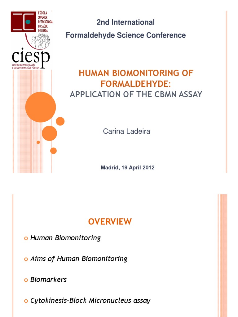 69cb391418fe2 Human Bio Monitoring of Formaldehyde Application of the Cbmn Assay by  Carina Ladeira   Biomarker   Formaldehyde