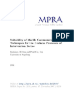 Suitability of Mobile Communication Techniques For
