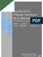 REPORTE DE LA PELÍCULA  ESCRITORES DE LA LIBERTAD